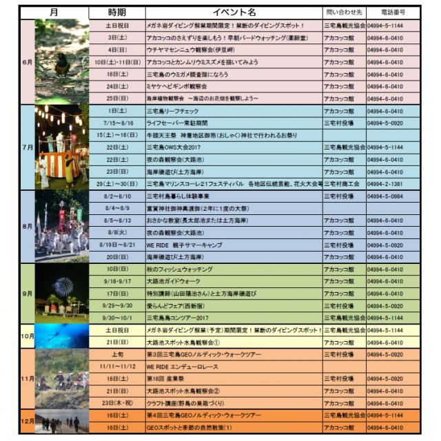 2017年度 三宅島年間イベントカレンダー