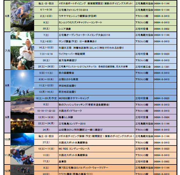 2018年12月までの三宅島イベントカレンダー